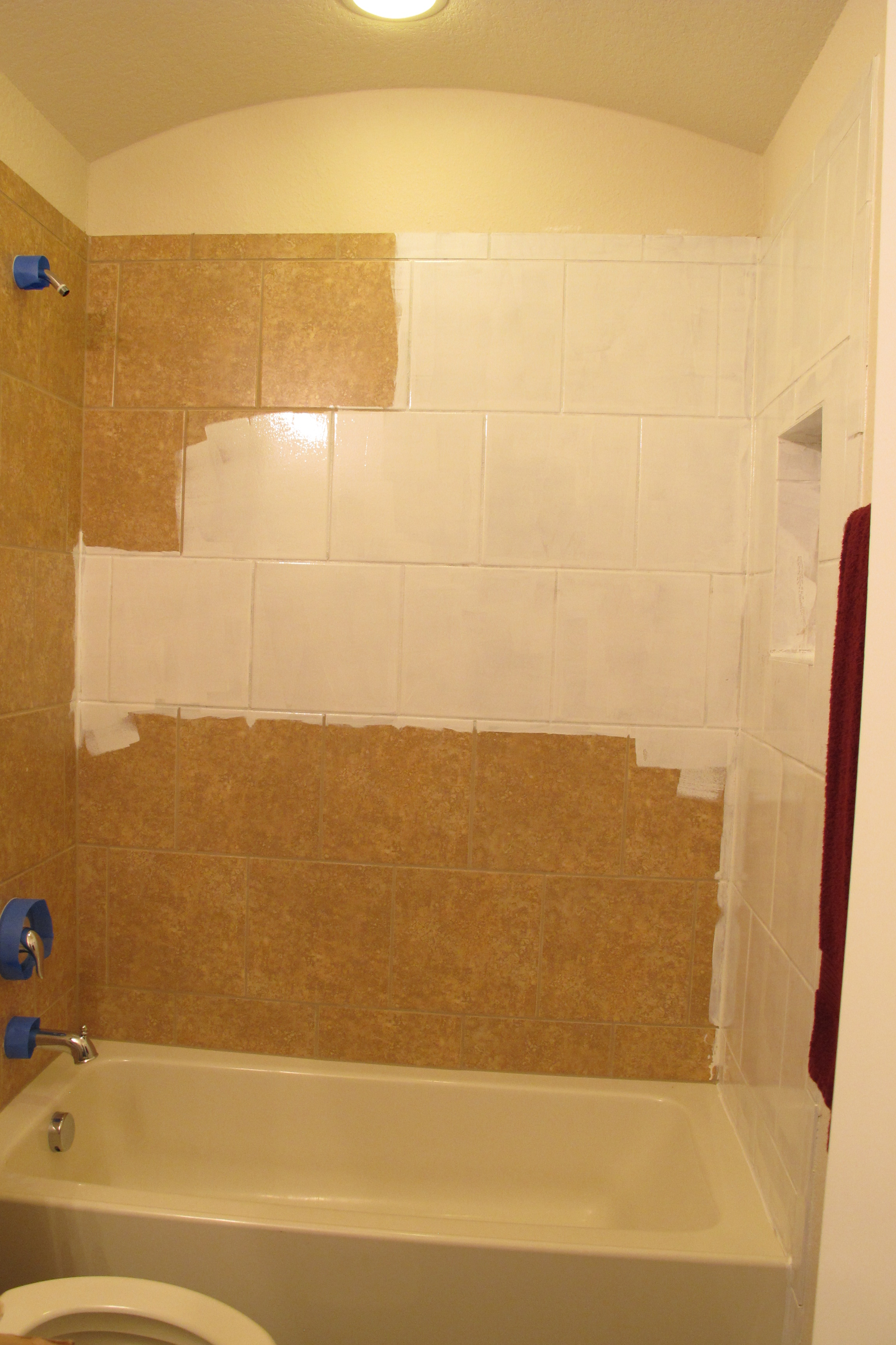 So i painted tile this weekend operation home for Can you paint tile backsplash in kitchen