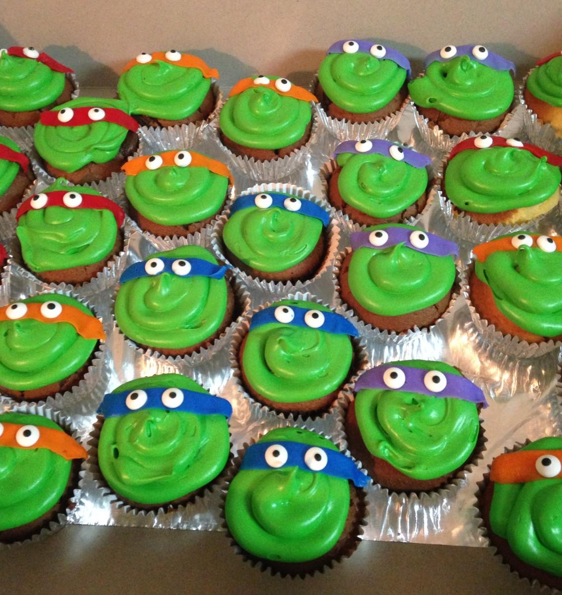 Easy Ninja Turtle Cupcakes